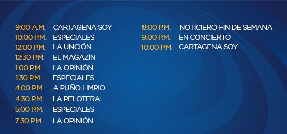 Programación Domingo Canal Cartagena
