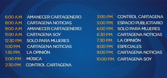 Programación Jueves Canal Cartagena