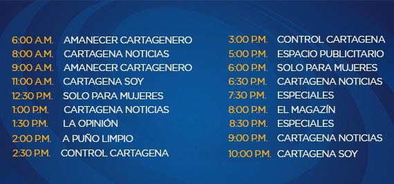 Programación Viernes Canal Cartagena